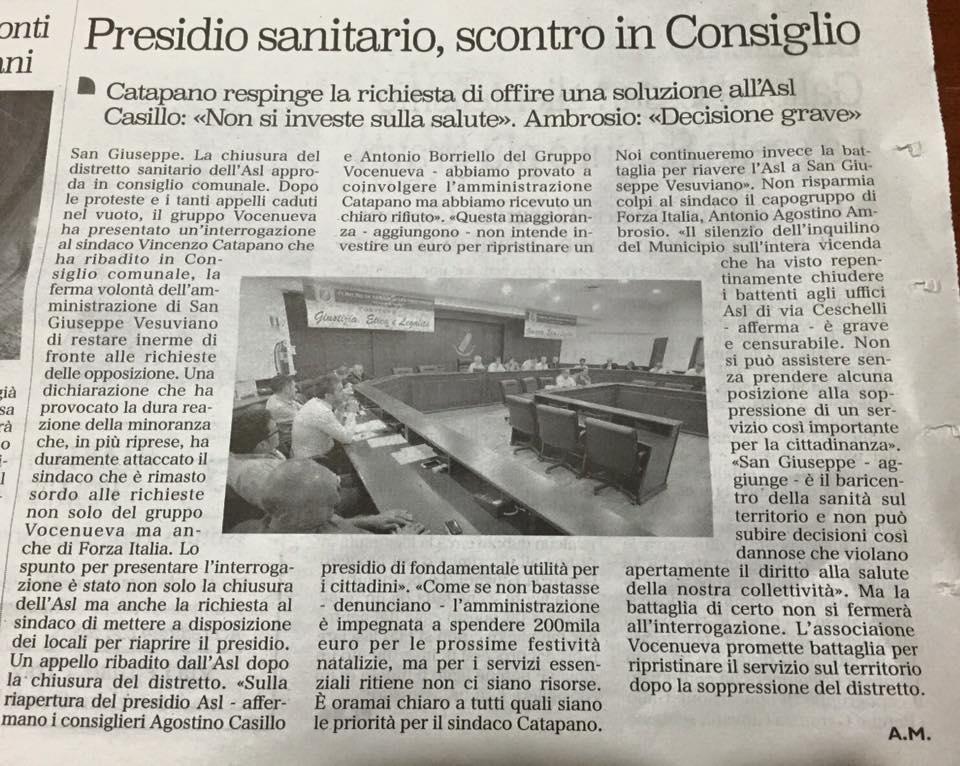 Il sindaco Catapano nella seduta del 10/11 respinge la richiesta di Vocenueva di offrire soluzioni per la riapertura del presidio.